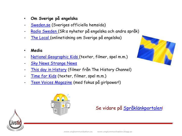 Om Sverige på engelska