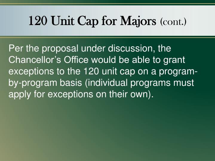 120 Unit Cap for Majors