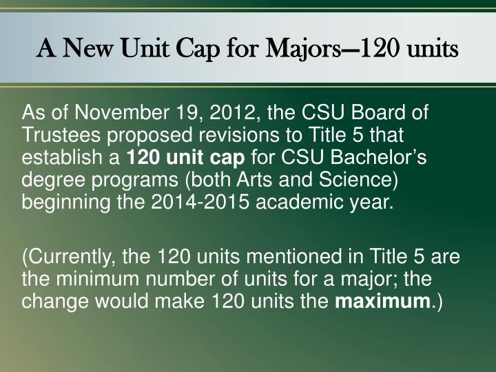 A New Unit Cap for Majors—120 units