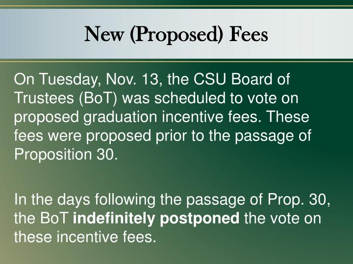 New (Proposed) Fees