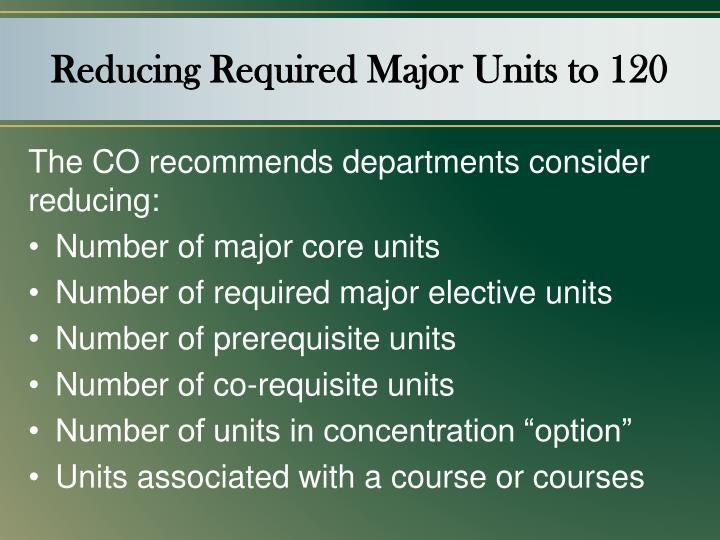Reducing Required Major Units to 120