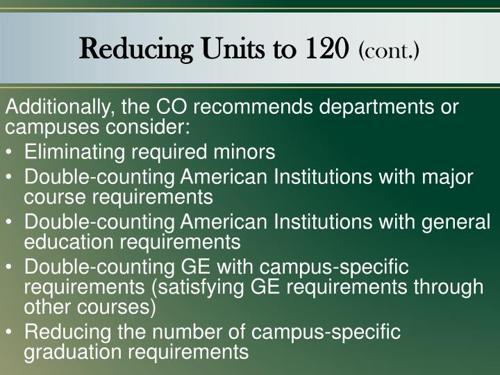 Reducing Units to 120