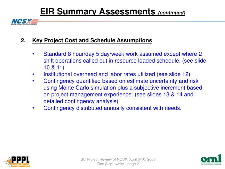 Eir summary assessments continued