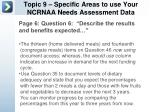 topic 9 specific areas to use your ncrnaa needs assessment data1
