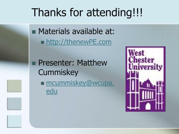Thanks for attending!!!
