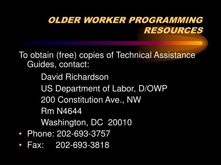 OLDER WORKER PROGRAMMING RESOURCES