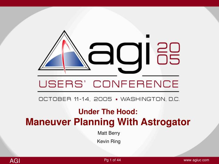 under the hood maneuver planning with astrogator n.