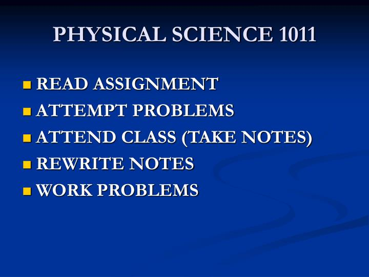 PHYSICAL SCIENCE 1011