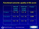 functional outcome quality of life score