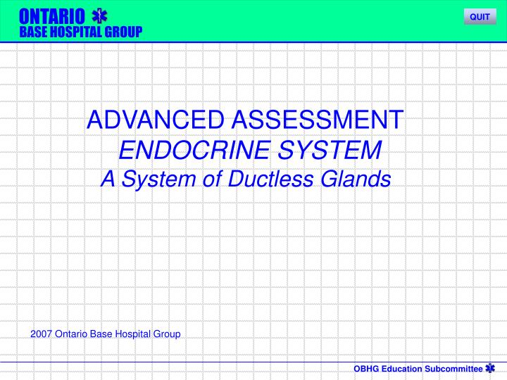 advanced assessment endocrine system a system of ductless glands n.