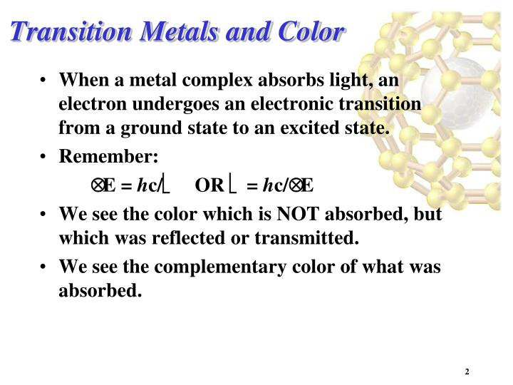 Transition metals and color1