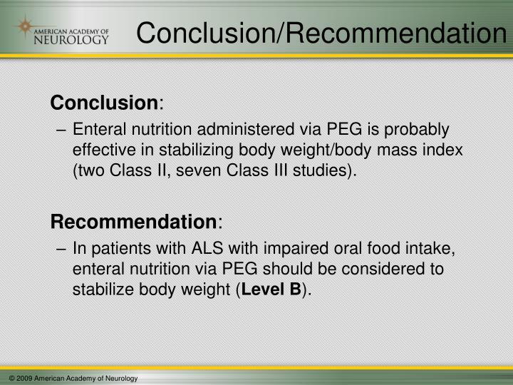 Conclusion/Recommendation