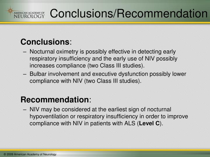 Conclusions/Recommendation