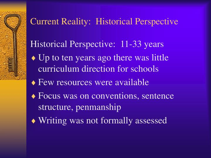 Current reality historical perspective