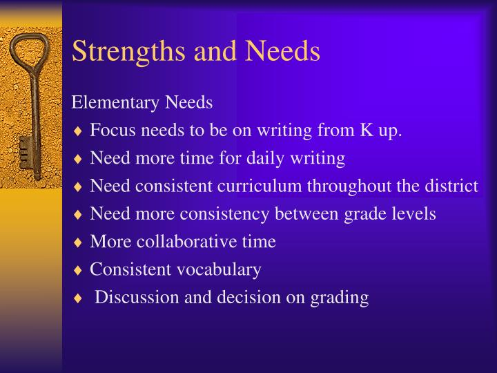 Strengths and Needs