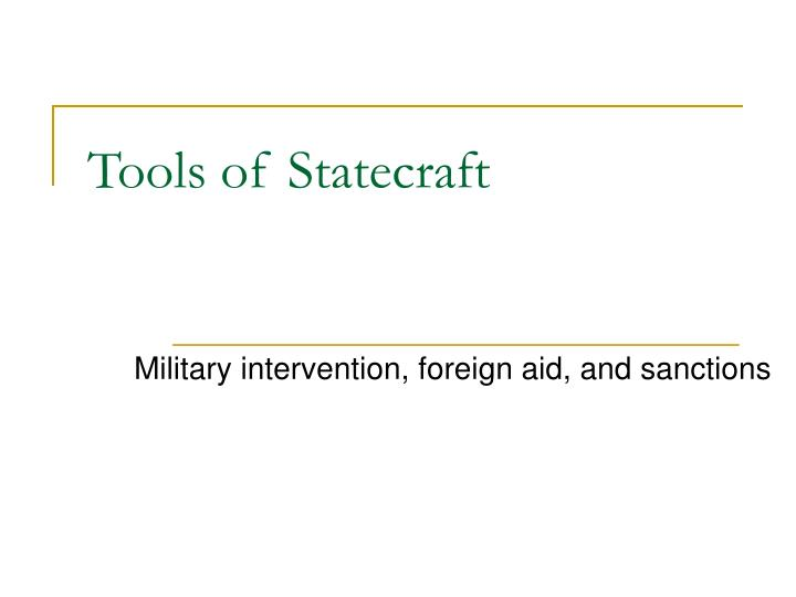 tools of statecraft n.