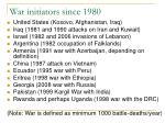 war initiators since 1980