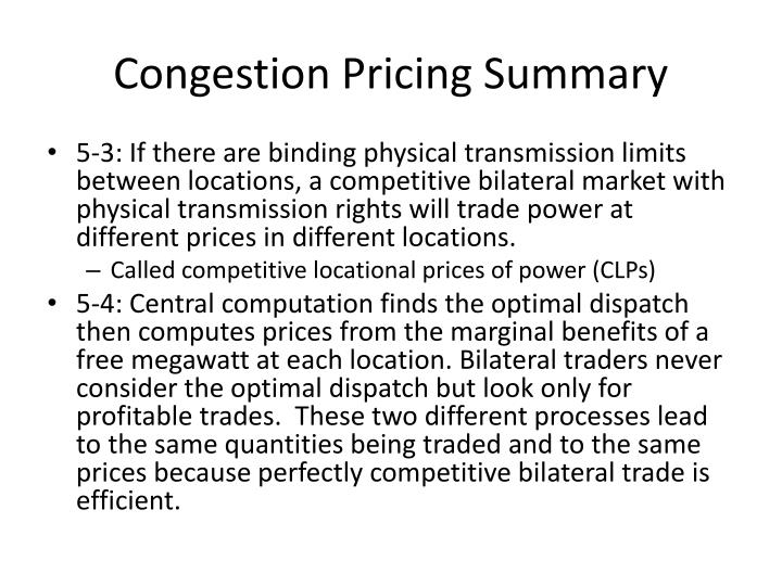 Congestion pricing summary
