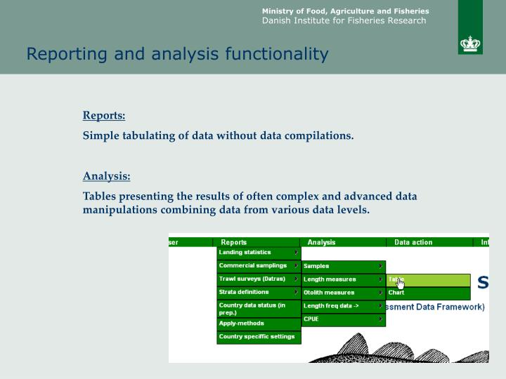 Reporting and analysis functionality