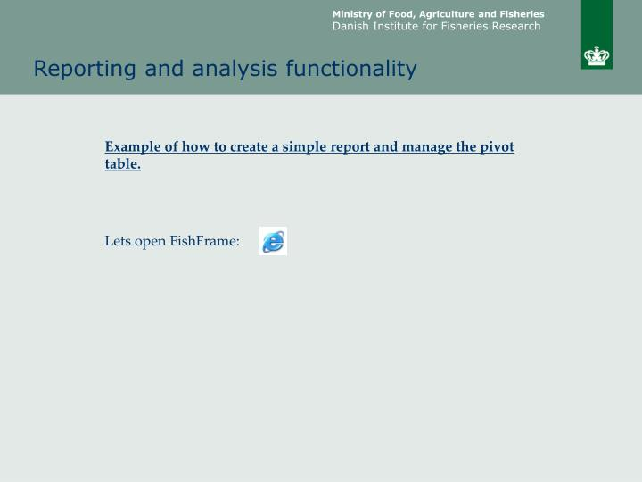 Reporting and analysis functionality1