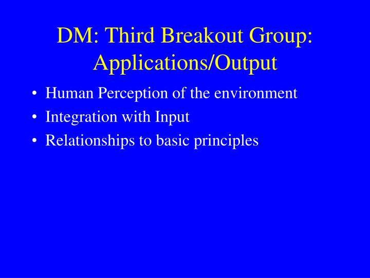 DM: Third Breakout Group: Applications/Output