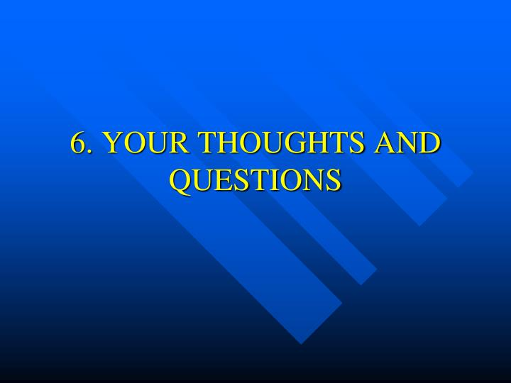 6. YOUR THOUGHTS AND QUESTIONS