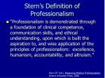 stern s definition of professionalism