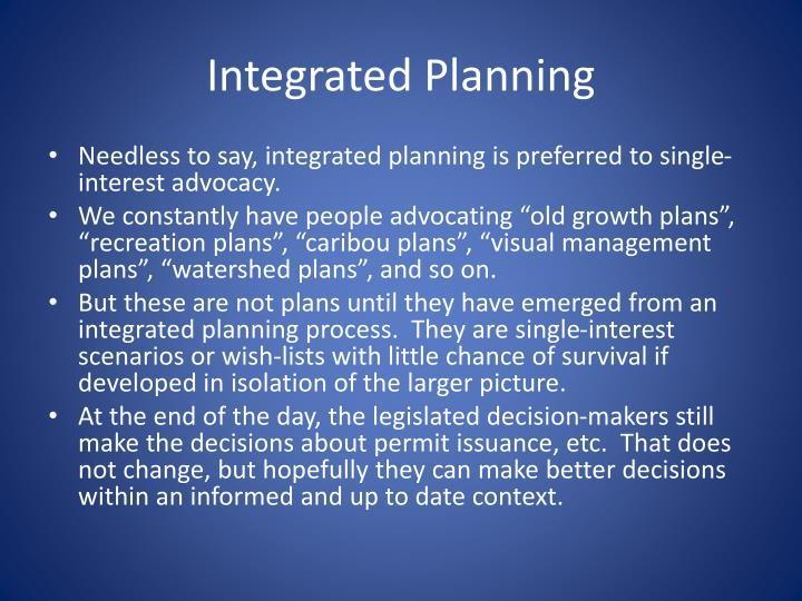 Integrated Planning