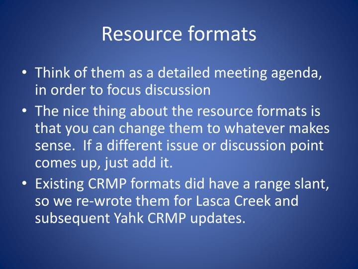 Resource formats