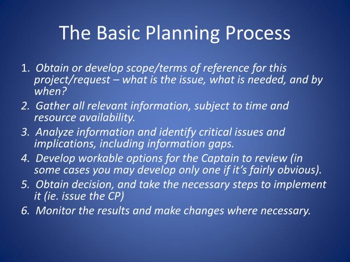 The Basic Planning Process