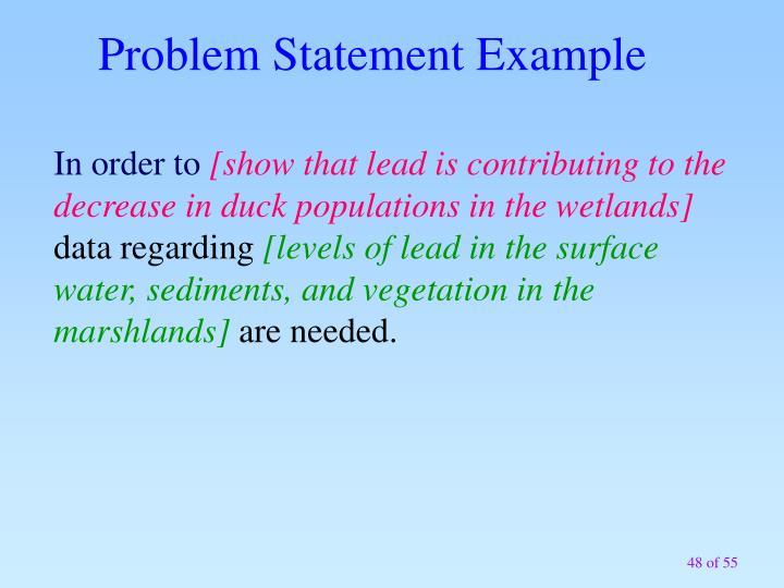 Problem Statement Example