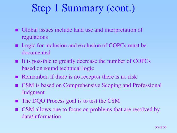 Step 1 Summary (cont.)