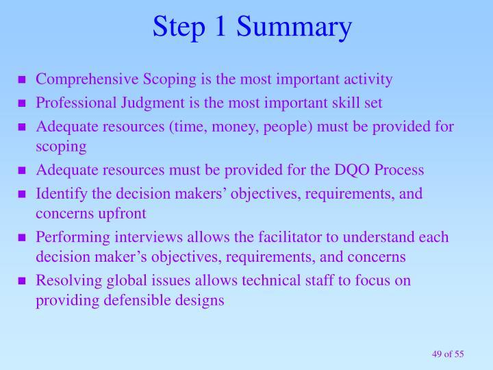 Step 1 Summary