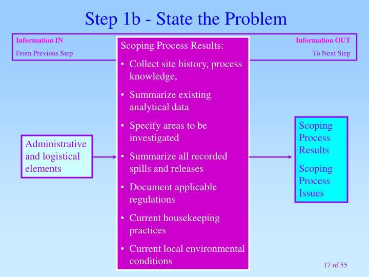 Step 1b - State the Problem