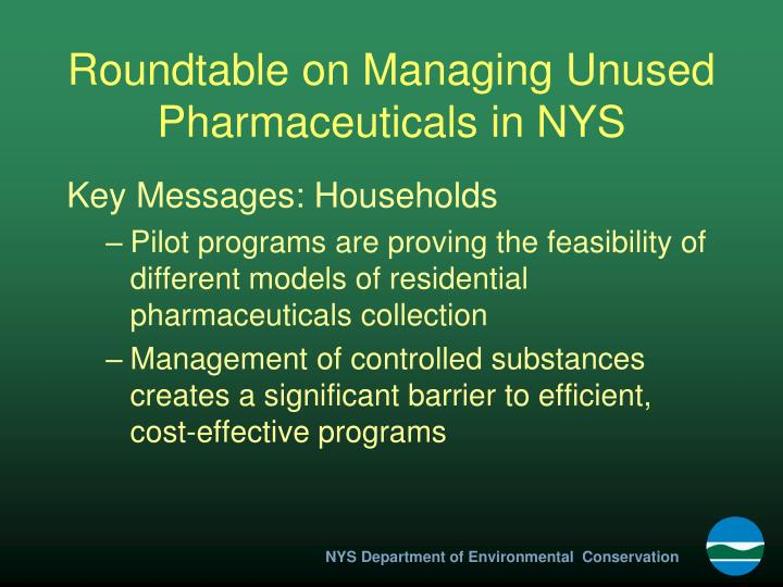 Roundtable on Managing Unused Pharmaceuticals in NYS