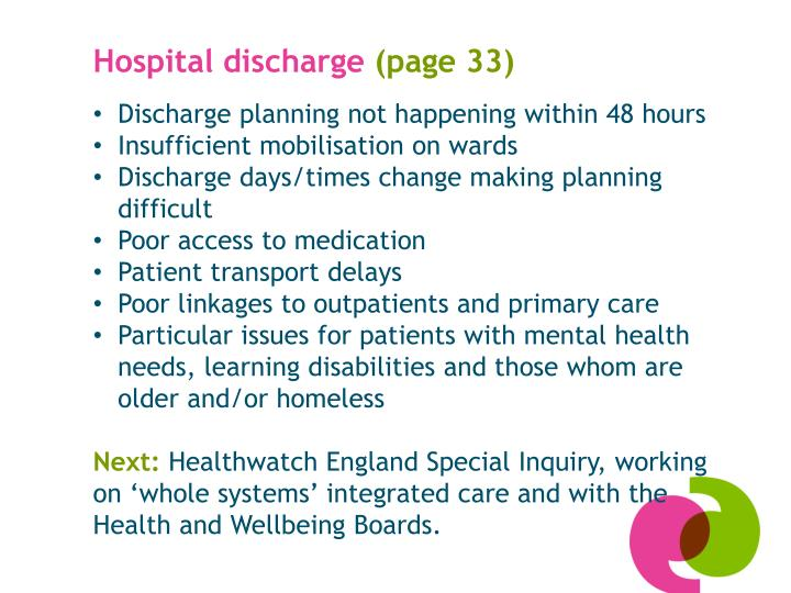 Hospital discharge