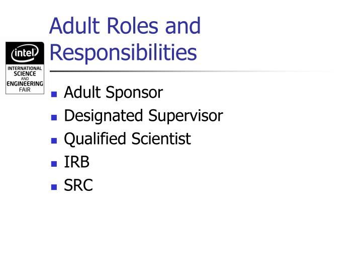 Adult roles and responsibilities