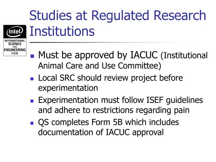 Studies at Regulated Research Institutions