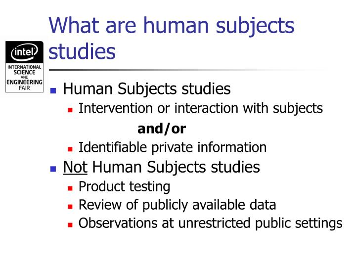 What are human subjects studies