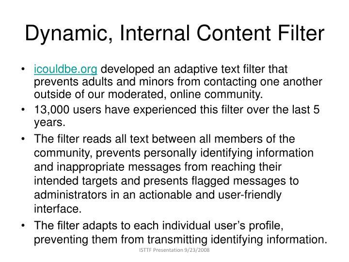 Dynamic internal content filter