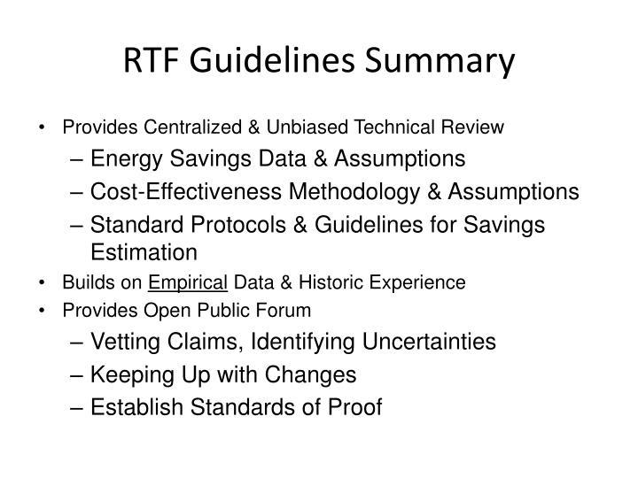 Rtf guidelines summary