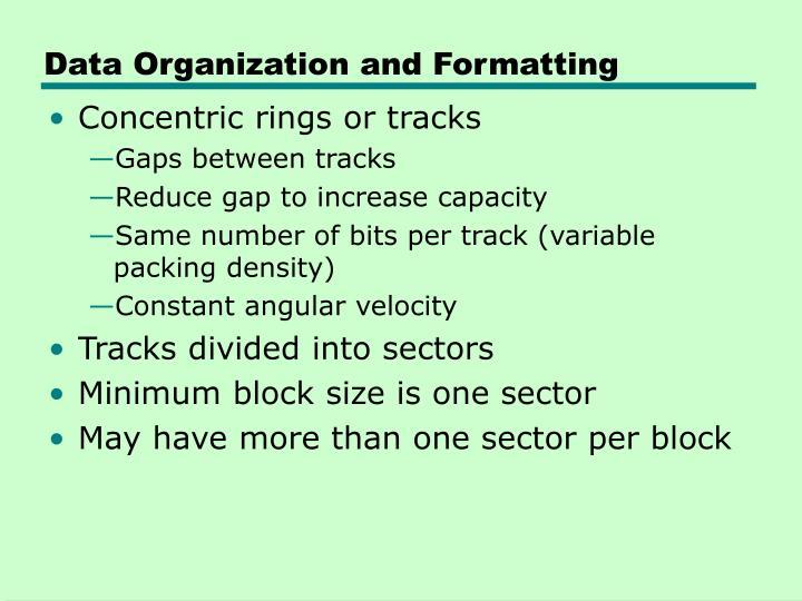 Data Organization and Formatting
