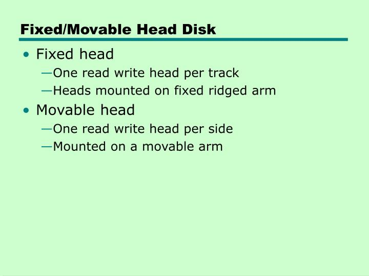 Fixed/Movable Head Disk