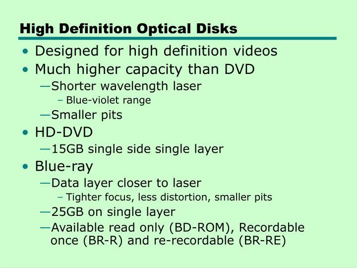 High Definition Optical Disks