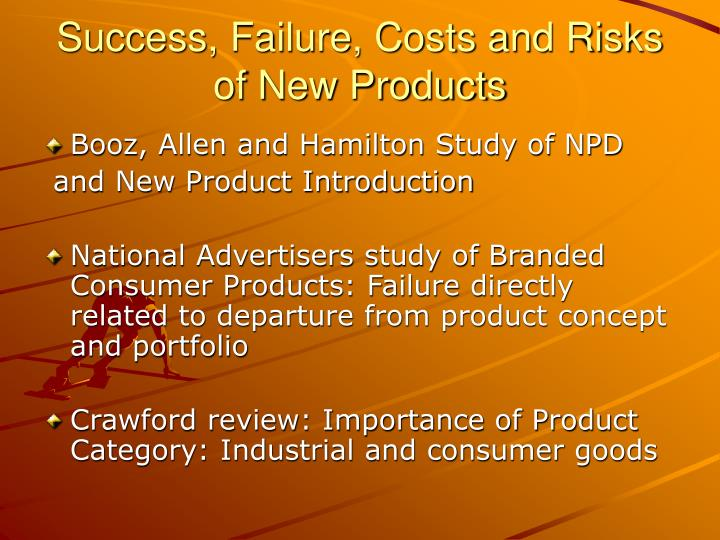 Success failure costs and risks of new products