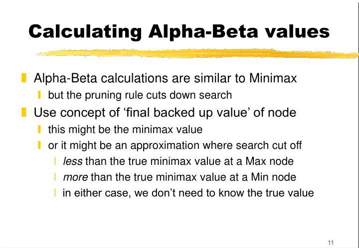 Calculating Alpha-Beta values