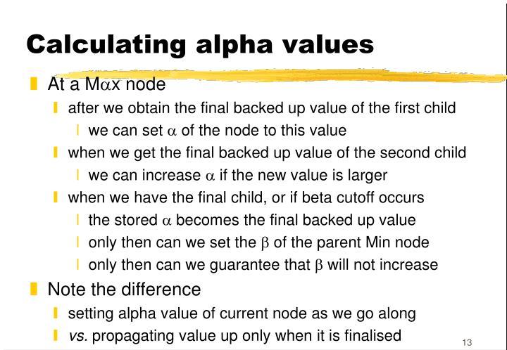 Calculating alpha values