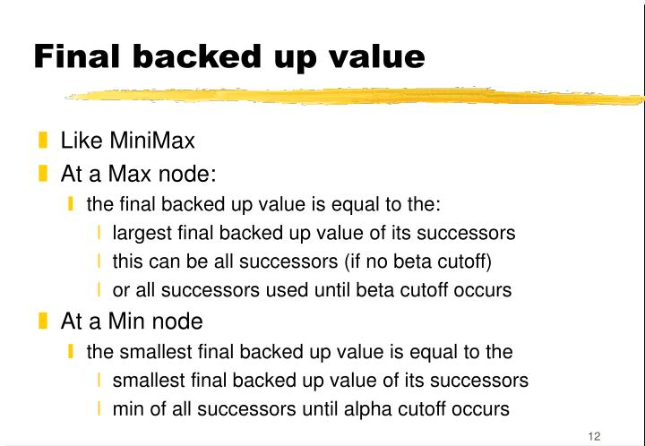 Final backed up value