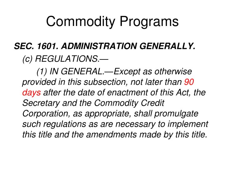 Commodity Programs