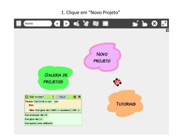 """1. Clique em """"Novo Projeto"""""""